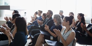 Audience attending a webinar